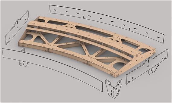 Gebogenes Fremo Modul H0, R2000 mm, 30°, 1-gleisig