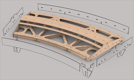 Gebogenes Fremo Modul H0, R2000 mm, 30°, 2-gleisig