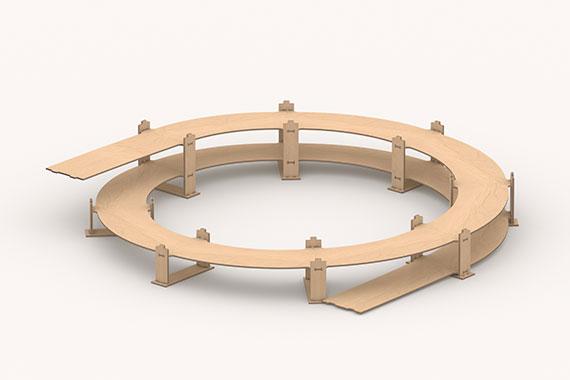 Gleiswendel N R1, 1-gleisig, Grundkreis